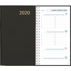Diary Visuplan 2020 Comb Bound Black