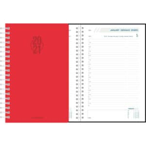 Diary Daily 2021 Red