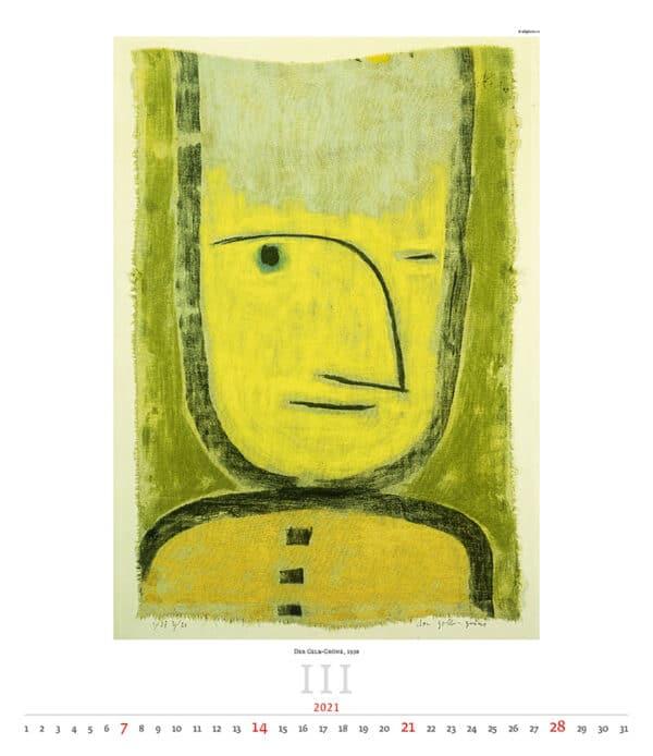 Wall Calendar Art Paul Klee 2021 March