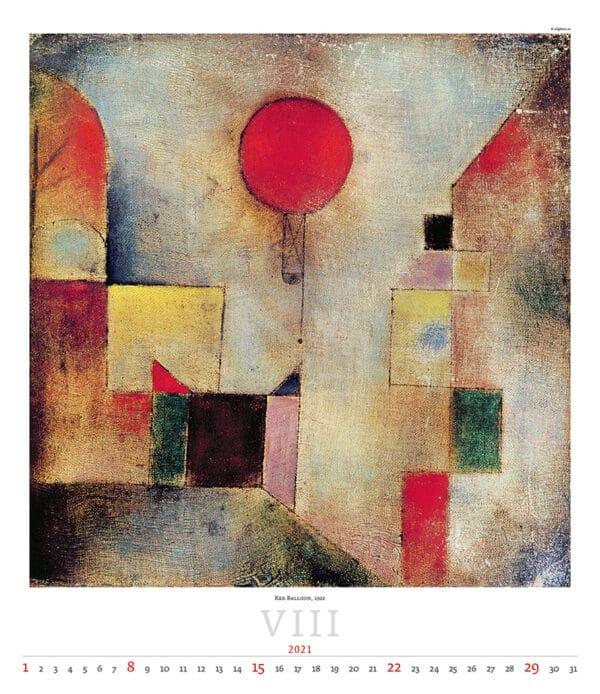 Wall Calendar Art Paul Klee 2021 August