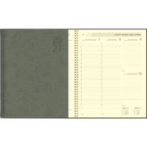 Diary Plan-a-week comb bound 2021 grey