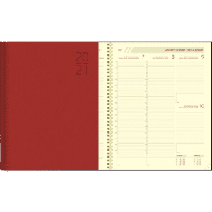 Diary Plan-a-week comb bound 2021 red
