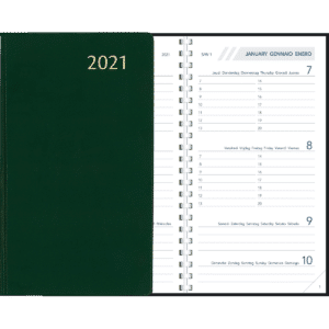 Diary Visuplan Comb bound 2021 Green