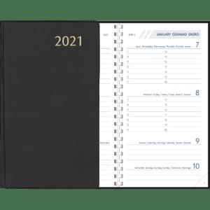 Diary Visuplan Comb bound Black 2021
