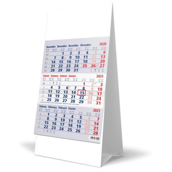 Desk calendar 3 months blue 2021