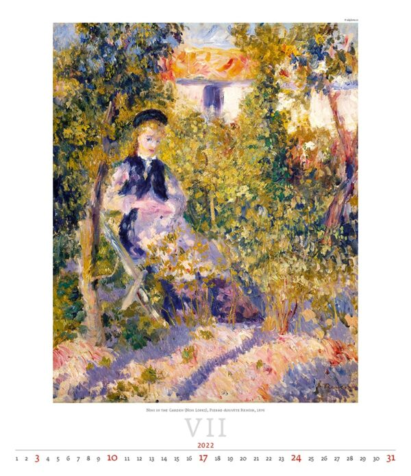 Art calendar Impressionism 2022 July