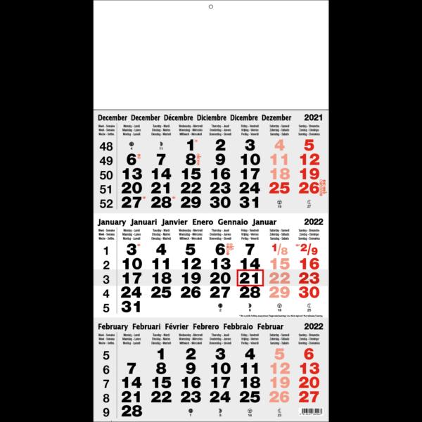 Shipping calendar 3 months 2022 Classic grey