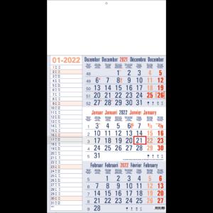 Shipping calendar 3 months 2022 Memo blue