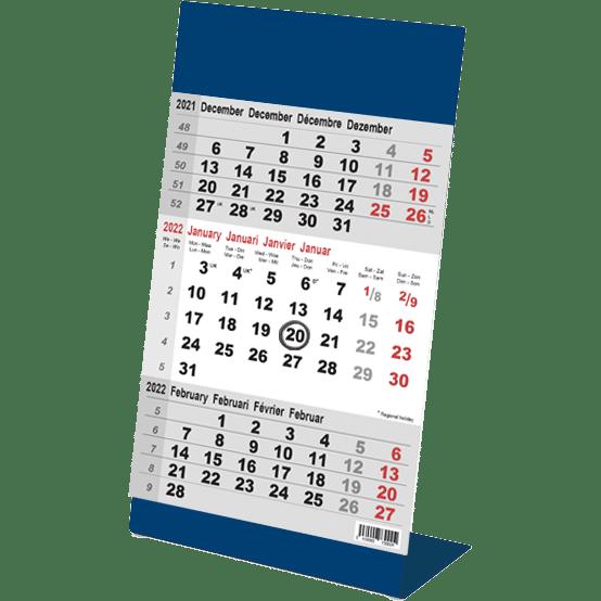 Desk calendar 3 months Color blue 2022