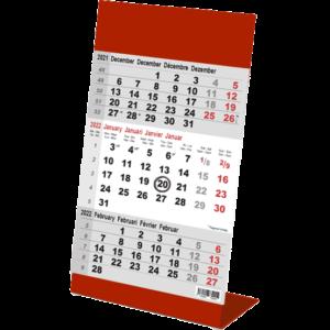 Desk calendar 3 months Color red 2022