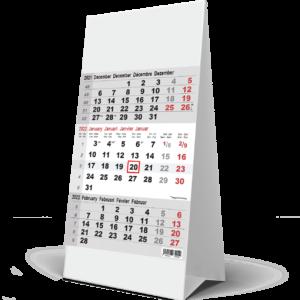Desk calendar 3 months grey 2022